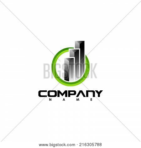 Business abstract symbol - vector logo concept illustration. Abstract vector logo. Vertical shapes sign. Real estate abstract logo. Vector logo template. Design element.