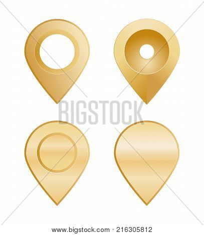 Gold Location Pins In Different Shapes. Vector Illustration Of A Set Of Golden Location Pins.