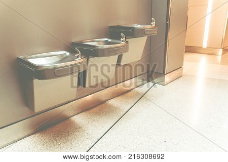 Free Drinking Water Or Drinking Fountain For Traveler In The International Airport. Public Drinking
