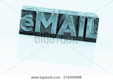 e-mail written in lead letters