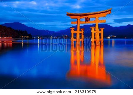 Japan Itsukushima Shrine at blue hour