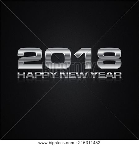 2018 Happy New Year metal present card. Happy holidays card with vector figures 2018 on gold frame in gift form and greeting text Happy New Year eps 8 eps 10