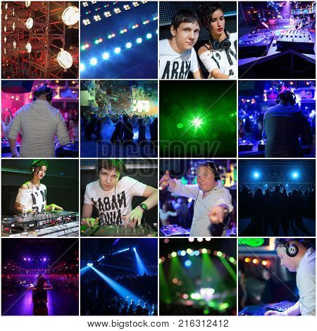 Collage with illuminated night clubs photos and DJs (3 models)