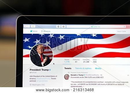 Wuhan China, 2 December 2017: American president Donald Trump POTUS official twitter account website page on a laptop screen