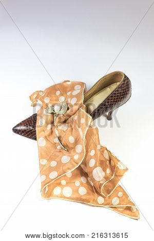 Vintage women's snakeskin shoe polka dot scarf and rhinestone brooch composition on white background vertical aspect