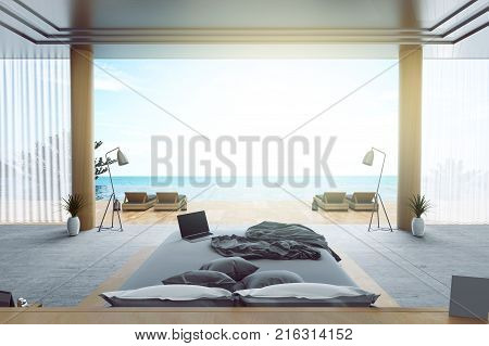 3d rendering : illustration of interior bed room and swimming pool in house or resort. Beach living with Sea view. loft modern interior furnish decoration style. soft light color picture style