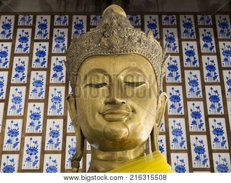 Golden Buddha in Nakhon Nayok Province of Thailand