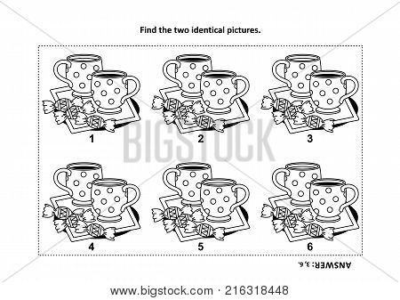 IQ training find the two identical pictures with tea cups and candy visual puzzle and coloring page. Answer included.