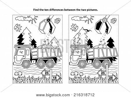 Find the ten differences picture puzzle and coloring page with working tip truck and hopper