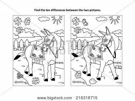 Find the ten differences picture puzzle and coloring page with donkey or burro walking at rural scene