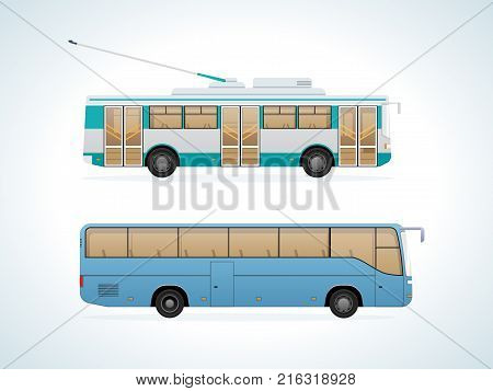 Passenger public modern urban transport: municipal trolley bus and intercity bus. Transportation of passengers. Side view city transport. Vector illustration isolated.