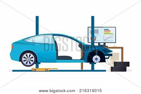 Car repair. Car service. Mechanic repair, diagnostics car, equipment in auto service. Work in auto repair service, work process equipment. Replacement of tires, wheels, car parts. Vector illustration.