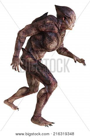 3D illustration alien monster isolated on white background