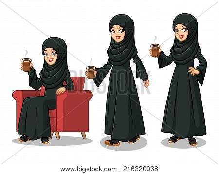 Set of Arab businesswoman in black dress cartoon character design making a break relaxing with holding drinking a coffee tea, isolated against white background.