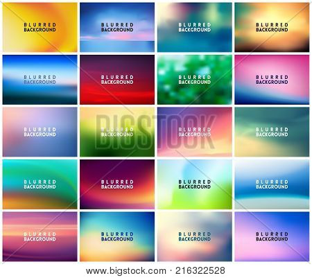 BIG set of 20 horizontal wide blurred nature backgrounds. With various quotes. Sunset and sunrise sea blurred background. Seasonal backgrounds - summer, spring, autumn and winter.
