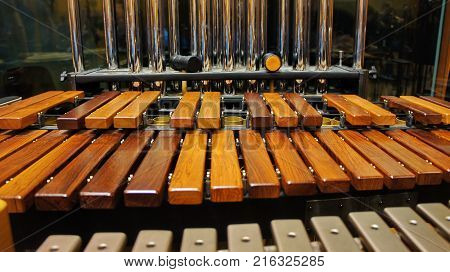 The xylophone and tubular bells and vibraphone in the foreground