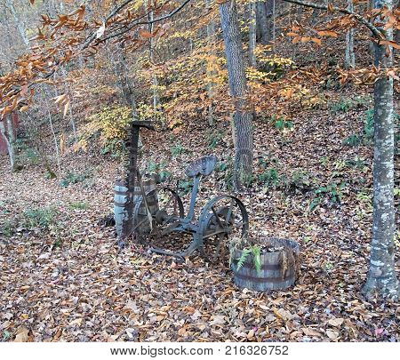 rusty old junk cart laying in fall leaves