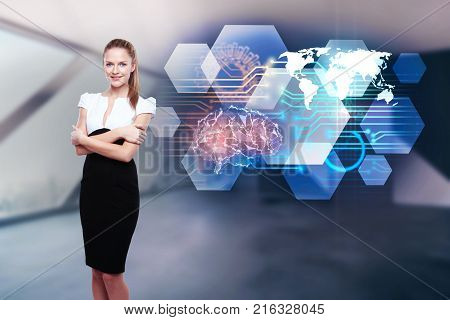 Attractive young european businesswoman standing on blurry interior background with abstract brain hologram. Artificial intellect and innovation concept. Double exposure