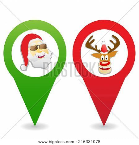 isolated cartoon Christmas map pin icons on white background