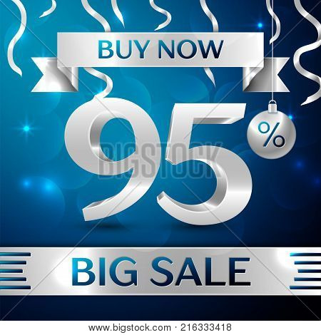 Realistic banner Merry Christmas with text Gold Big Sale buy now ninety five percent for discount on blue background. Confetti, christmas ball and gold ribbon. Vector Illustration