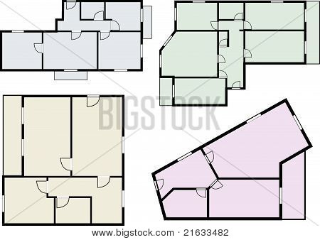 flats scheme, view from above, vector