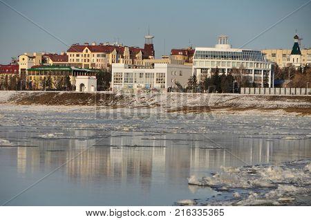 Autumn ice drift on the Irtysh River Omsk region Siberia Russia