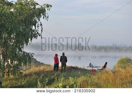 Morningg on the river Irtysh Omsk region Siberia Russia