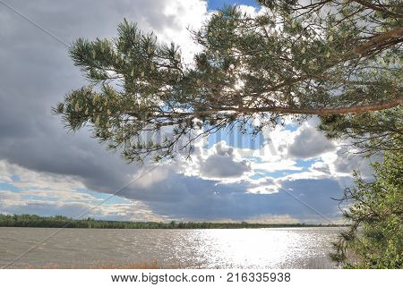 Spring high water on the Irtysh River Omsk region Siberia Russia