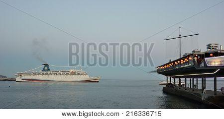YALTA CRIMEA SEPTEMBER 13 2017: Cruise ship leaving the port of Yalta