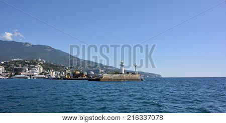 View of the city of Yalta from the sea