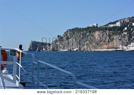 View of the outskirts of Yalta from the sea