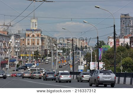Omsk Russia - Jule 30 2016: Maslennikov Street in the city of Omsk