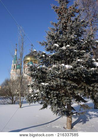 OMSK RUSSIA - JANUARY 31 2017: Uspenski Cathedral Omsk Siberian region Russia