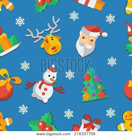 Funny Christmas seamless pattern Wrapping paper. Pattern Christmas, holiday, snow, winter decoration