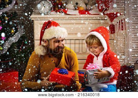 Santa Kid, Bearded Man At Christmas Tree