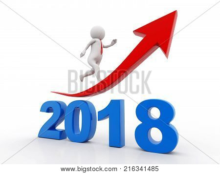 business graph with arrow up and 2018 symbol, represents growth in the new year 2018, business man running on 2018, 3D illustration