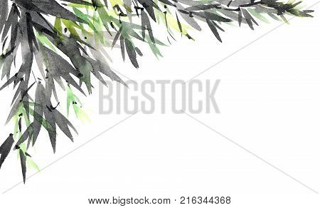 Watercolor and ink illustration of tree foliage. Oriental traditional paintind u-sin sumi-e.