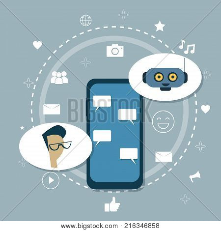 Man Chatting With Chatter Bot Modern Chatbot Robot Mobile Support Application Concept Vector Illustration