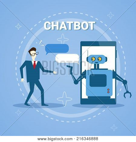 Man Chatting With Chatter Bot From Smart Phone Online Support Assistance Technology Vector Illustration