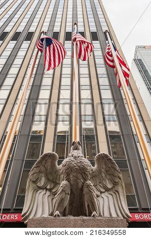 New York City, USA - Nov 10, 2011 : Eagle Statue and American flags  Outside Madison Square Garden