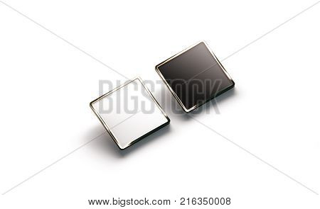 Blank black and white square gold lapel badge mockup side view 3d rendering. Empty luxury hard enamel pin mock up. Golden clasp-pin design template. Expensive square brooch for logo presentation