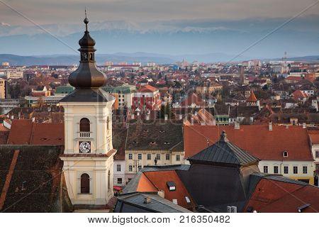 SIBIU, ROMANIA - 24 NOVEMBER 2017: Sibiu cityscape, Romania, Transylvania