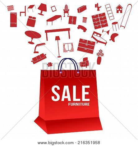 Sale tag banner , furniture with a lot of furniture come out of a shopping bag