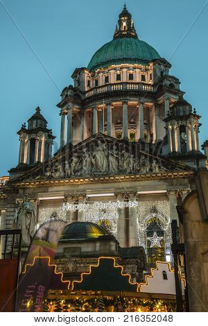 Belfast Northern Ireland - 20th November 2017 - Christmas market at Belfast city hall. A traditional festive market held yearly in the city hall gardens attracting many visitors