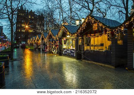 Belfast Northern Ireland - 20th November 2017 - Christmas market at the city hall. A traditional festive market held yearly in the city hall gardens attracting many visitors