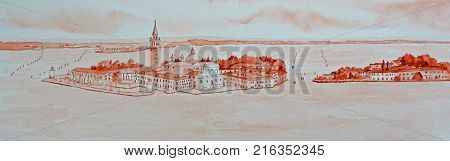 Watercolor Painting  of the Venetian Lagoon with Church of  San Giorgio Maggoiore  and Guidecca  painted using only Venetian Red.