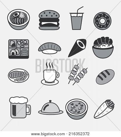 all food icon vector logo , udon , burger , soda drink , bento , doughnut , sushi , maki , donburi (Japanese rice bow), steak , coffee , barbecue , bread , beer , bean soup ,
