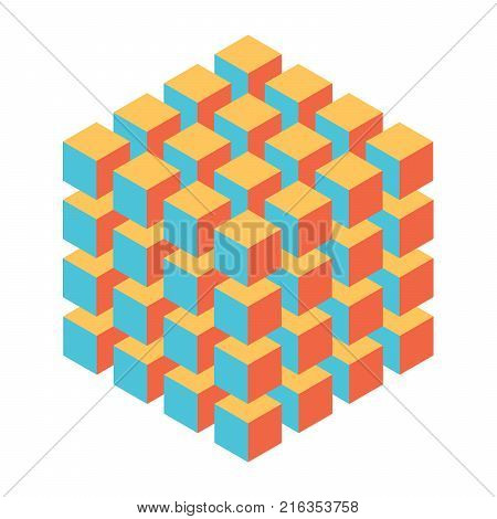 Geometric cube of smaller isometric cubes. Abstract design element. Science or construction concept. 3D vector object.