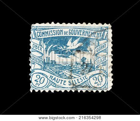 GERMANY - CIRCA 1920 : Postage stamp printed by Germany, that shows Silesian metallurgical plants.