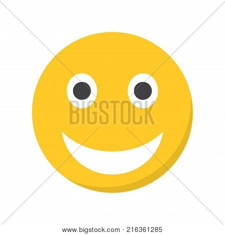Smiling emoji with open mouth. Vector illustration